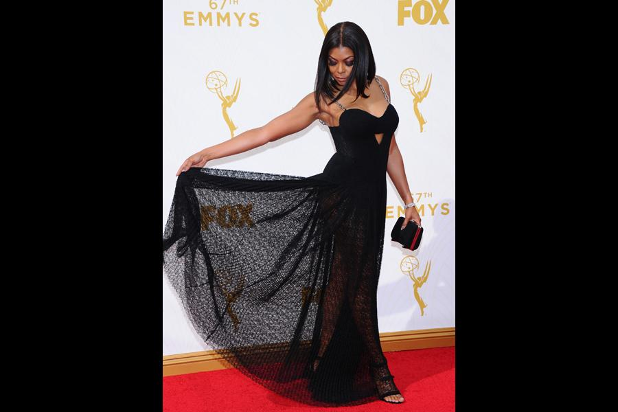 Taraji P. Henson on the red carpet at the 67th Emmy Awards.