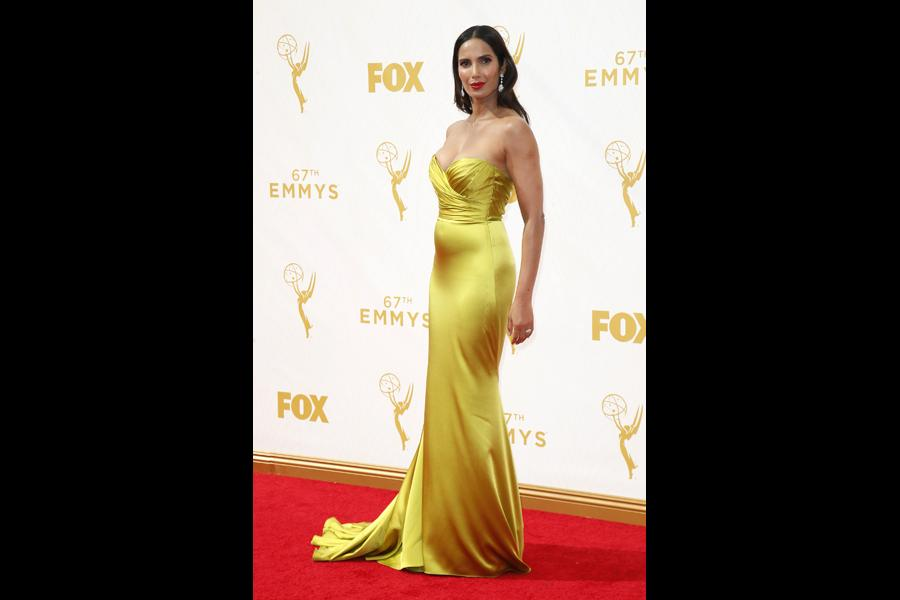 Padma Lakshmi on the red carpet at the 67th Emmy Awards.