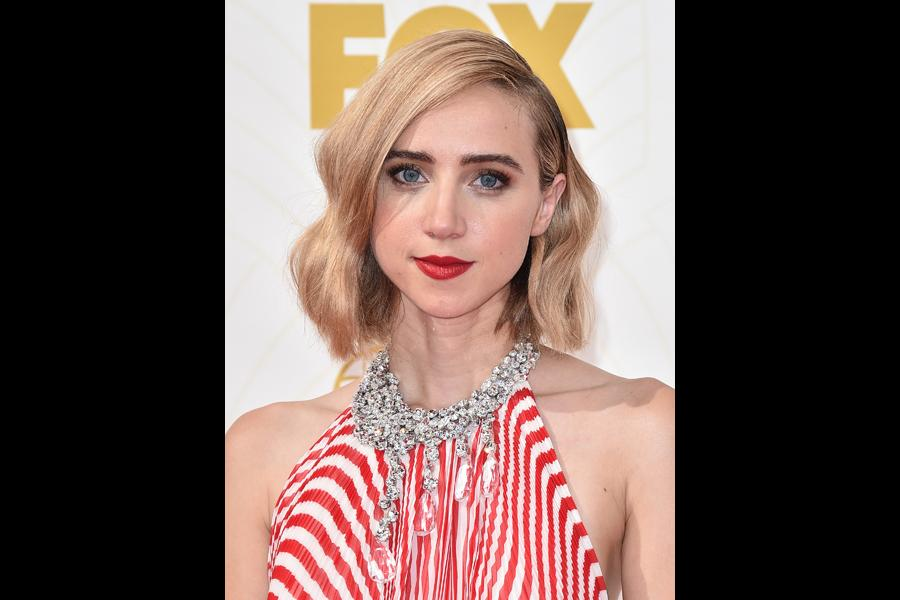 Zoe Kazan on the red carpet at the 67th Emmy Awards.