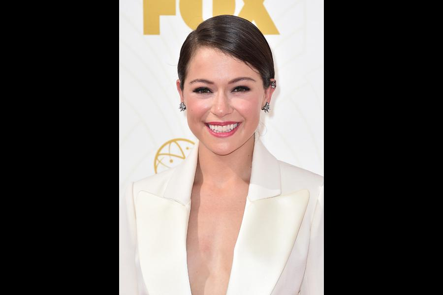Tatiana Maslany on the red carpet at the 67th Emmy Awards.