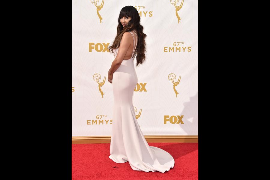 Jackie Cruz on the red carpet at the 67th Emmy Awards.