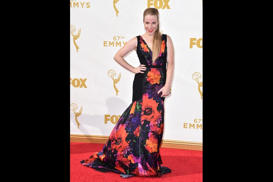 Emma Myles on the red carpet at the 67th Emmy Awards.