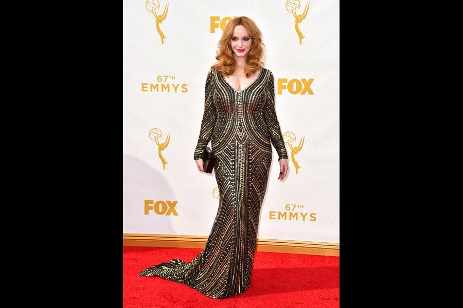 Christina Hendricks on the red carpet at the 67th Emmy Awards.