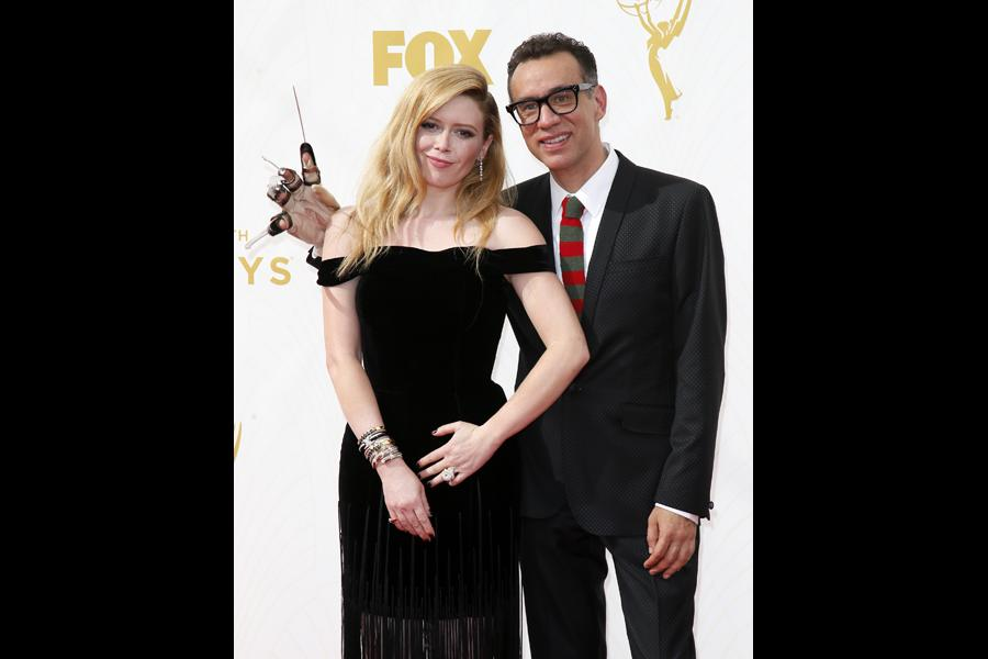 Natasha Lyonne and Fred Armisen on the red carpet at the 67th Emmy Awards.