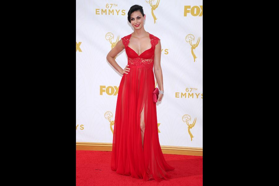 Morena Baccarin on the red carpet at the 67th Emmy Awards.