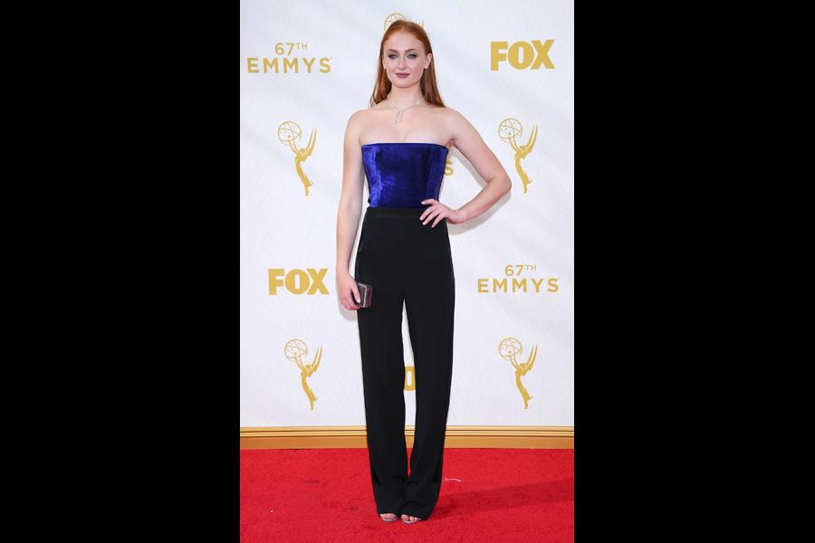 Sophie Turner on the red carpet at the 67th Emmy Awards.