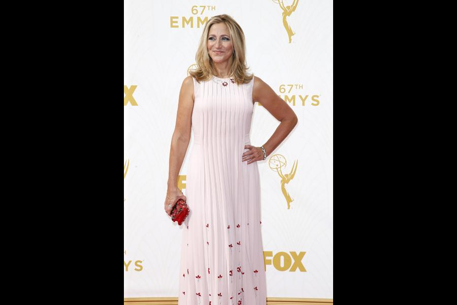 Edie Falco on the red carpet at the 67th Emmy Awards.
