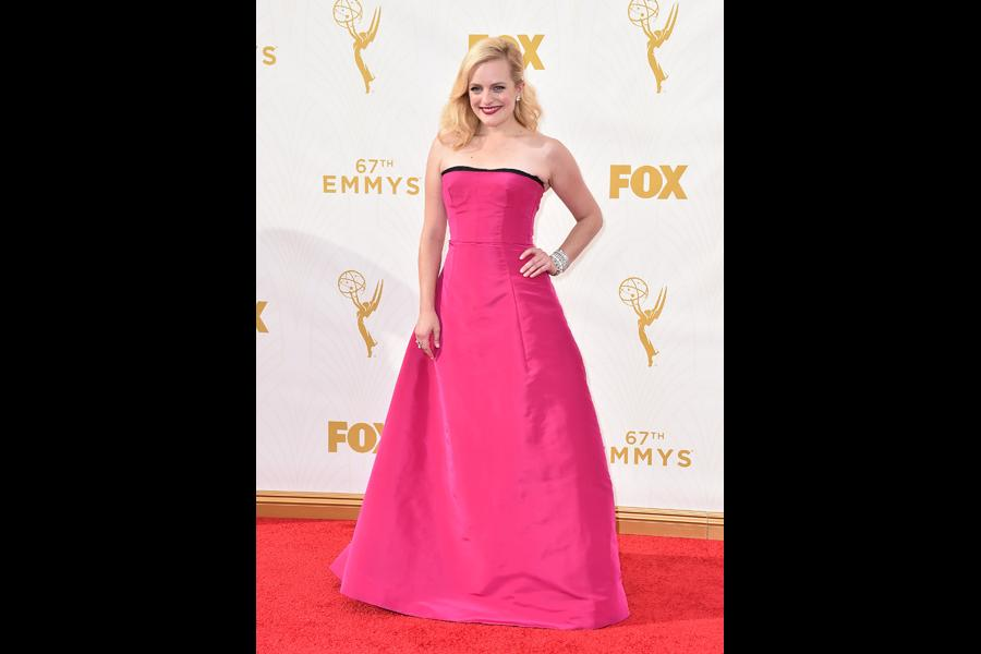 Elisabeth Moss on the red carpet at the 67th Emmy Awards.