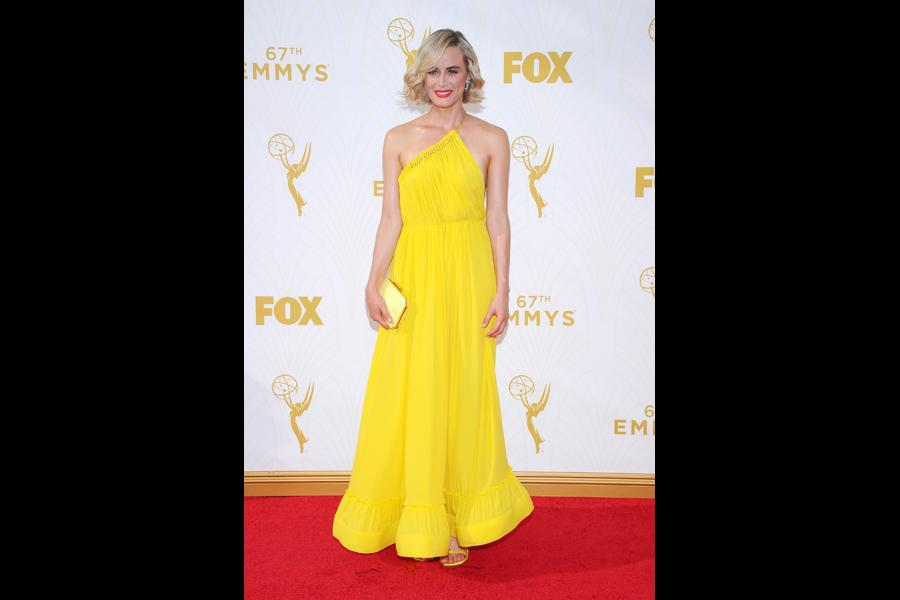 Taylor Schilling on the red carpet at the 67th Emmy Awards.