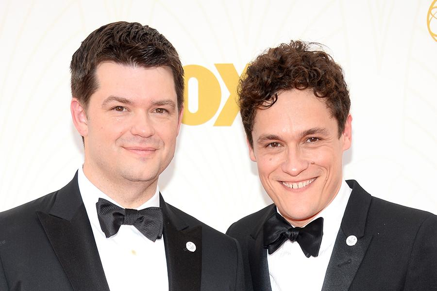 Chris Miller and Phil Lord on the red carpet at the 67th Emmy Awards.