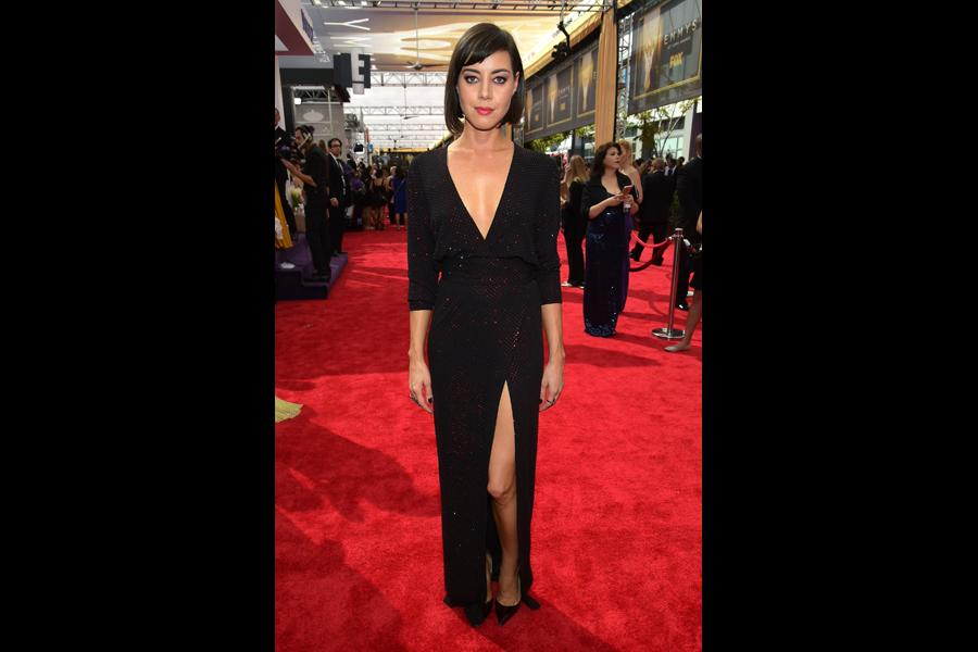 Aubrey Plaza on the red carpet at the 67th Emmy Awards.
