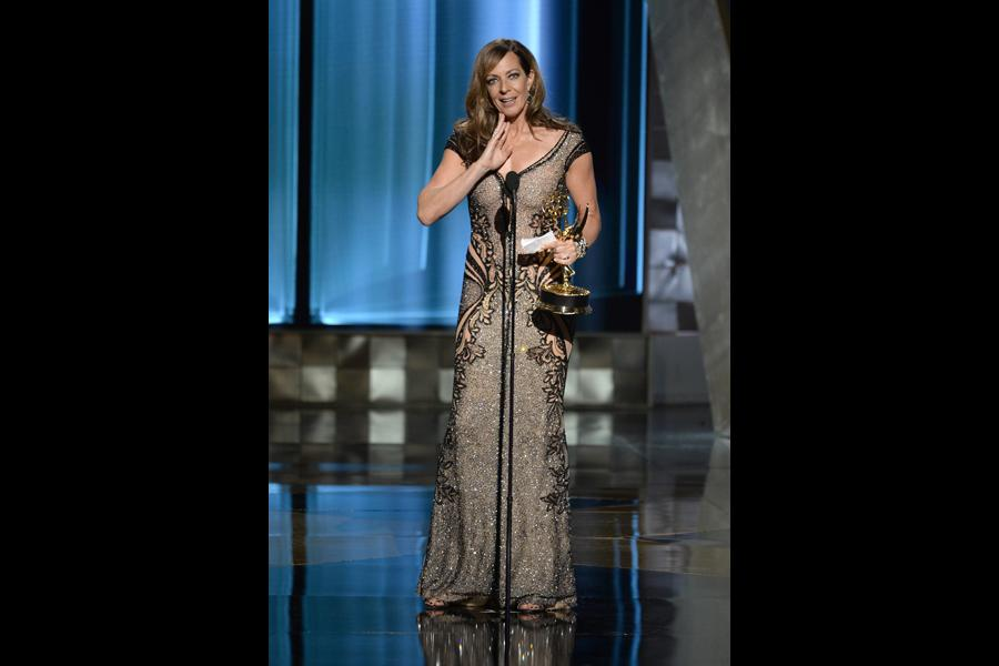 Allison Janney accepts her award at the 67th Emmy Awards.