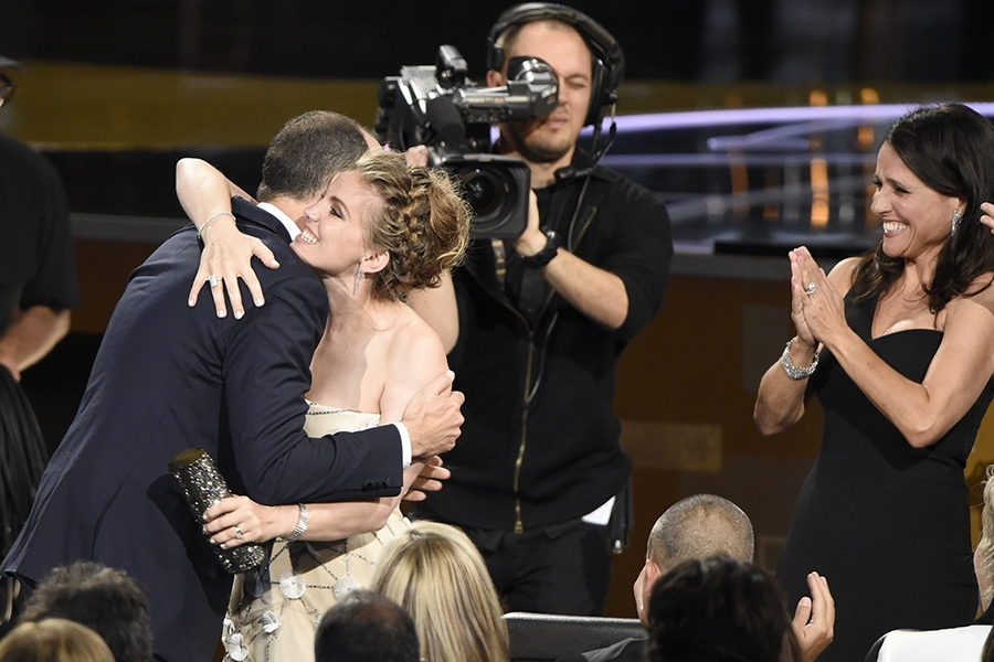 Tony Hale, Anna Chlumsky and Julia Louis-Dreyfus at the 67th Emmy Awards.