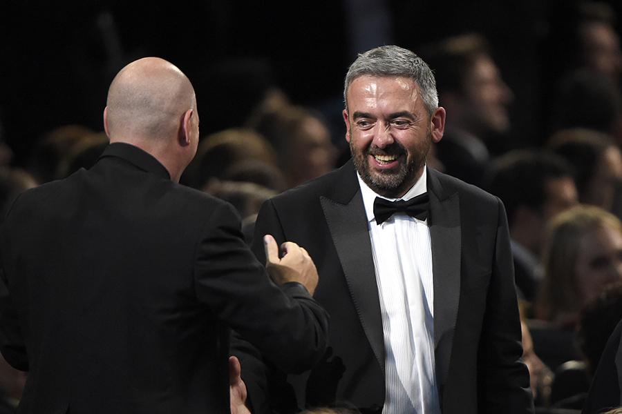 Tony Roche and Simon Blackwell at the 67th Emmy Awards.