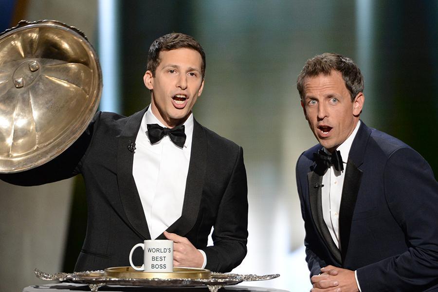 Andy Samberg and Seth Meyers at the 67th Emmy Awards.