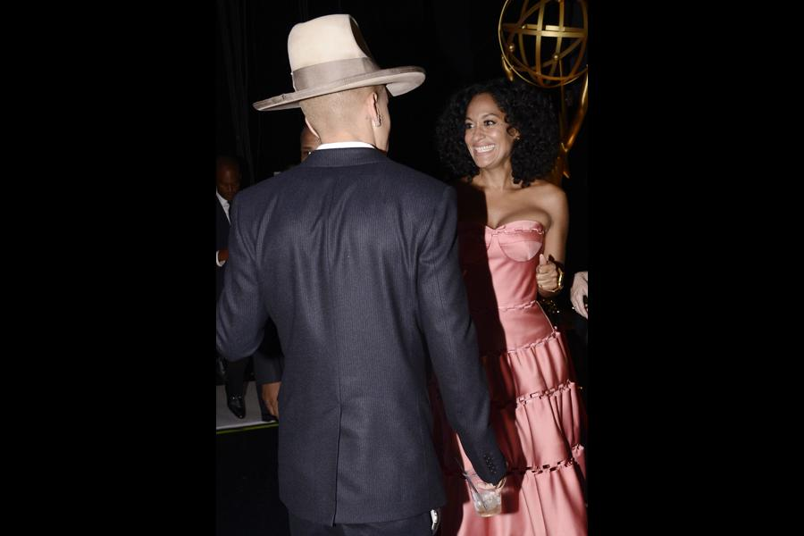 Evan Ross and Tracee Ellis Ross backstage at the 67th Emmy Awards.