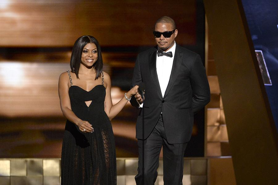Taraji P. Henson and Terrence Howard present an award at the 67th Emmy Awards.