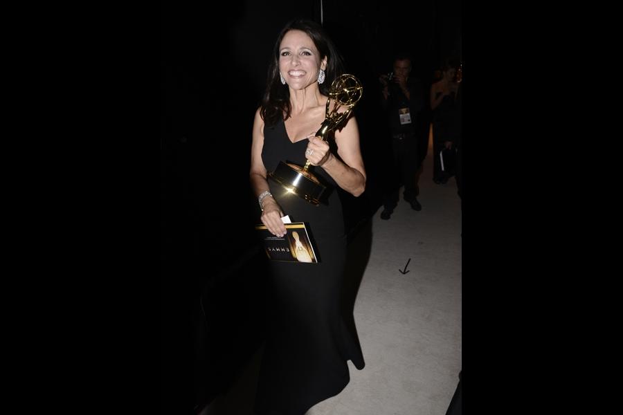 Julia Louis-Dreyfus backstage at the 67th Emmy Awards.
