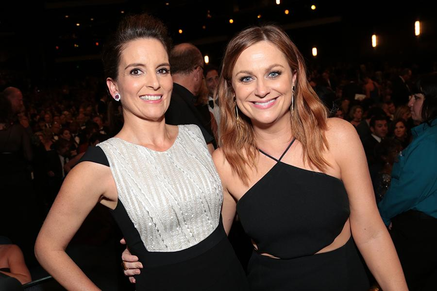 Tina Fey and Amy Poehler at the 67th Emmy Awards.