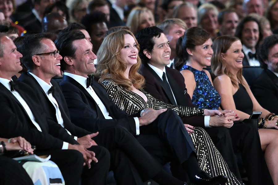 Jon Hamm, Christina Hendricks and Geoffrey Arend at the 67th Emmy Awards.