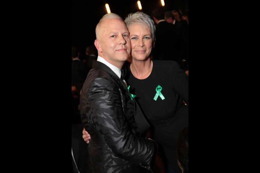 Ryan Murphy and Jamie Lee Curtis at the 67th Emmy Awards.