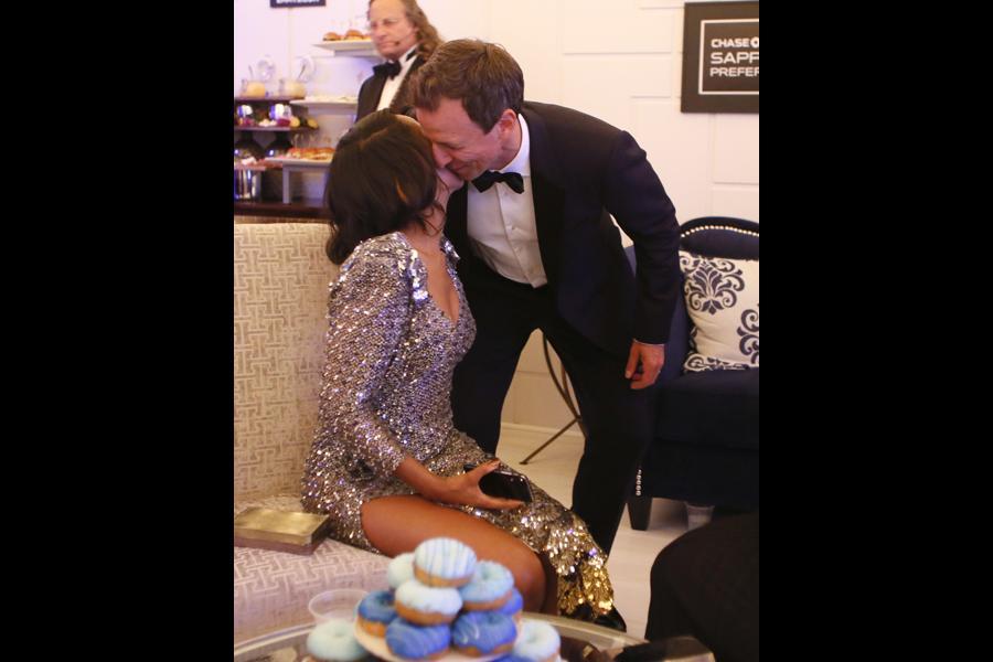 Kerry Washington and Seth Meyers backstage at the 67th Emmy Awards.