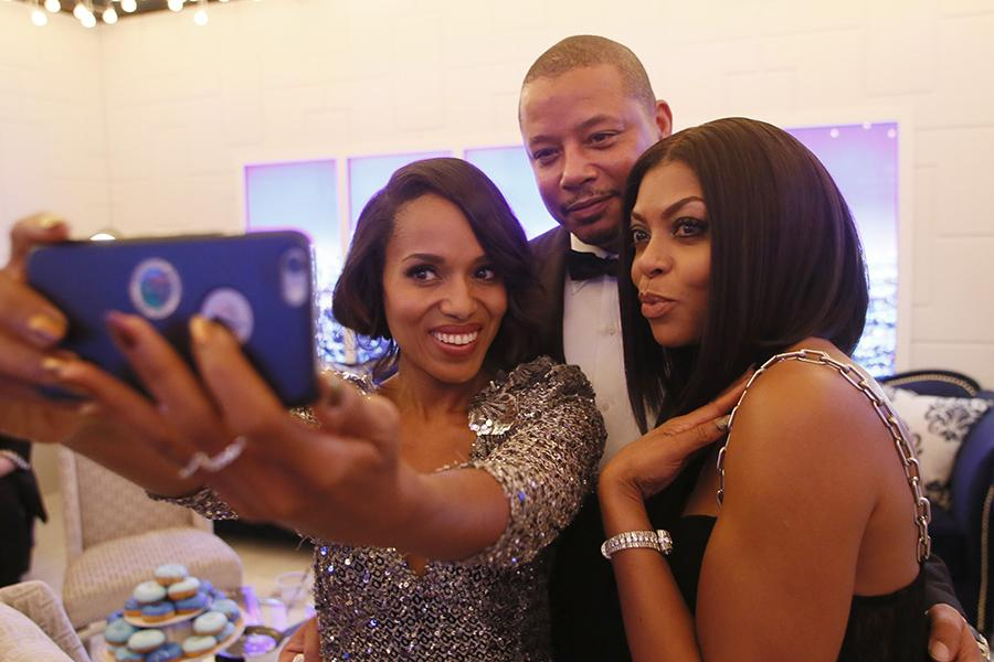 Kerry Washington, Terrence Howard and Taraji P. Henson backstage at the 67th Emmy Awards.