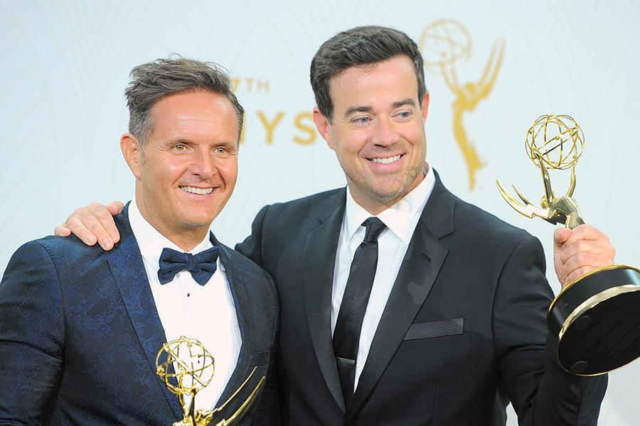 Mark Burnett and Carson Daly backstage at the 67th Emmy Awards.
