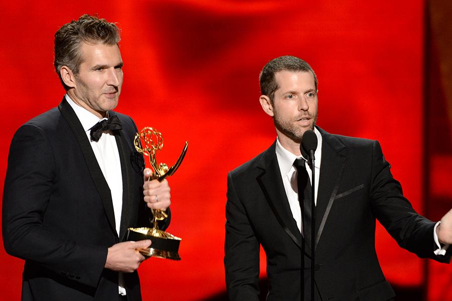 David Benioff and D.B. Weiss accept their award at the 67th Emmy Awards.