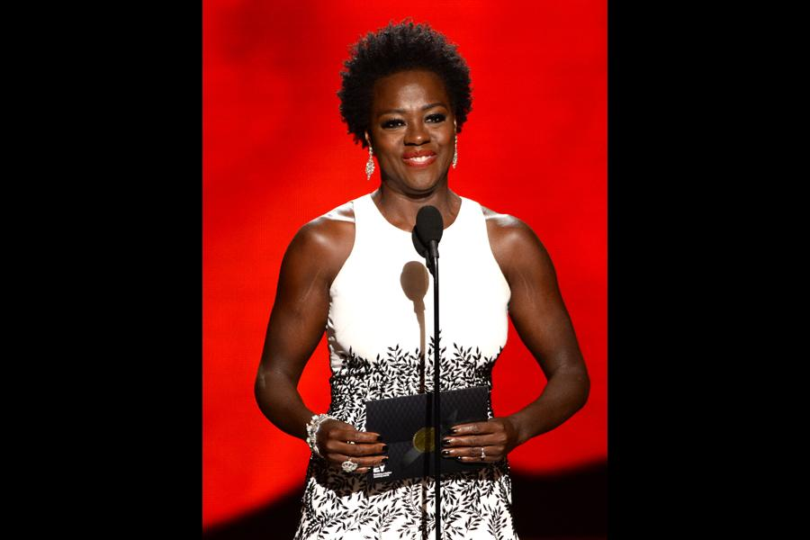 Viola Davis presents an award at the 67th Emmy Awards.