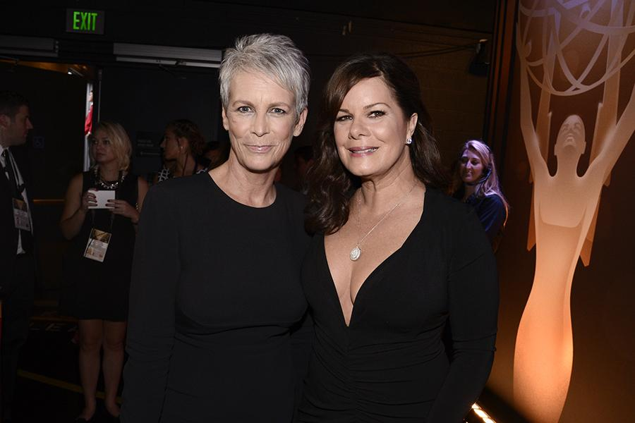 Jamie Lee Curtis and Marcia Gay Harden backstage at the 67th Emmy Awards.