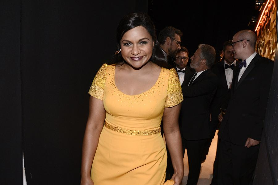 Mindy Kaling backstage at the 67th Emmy Awards.