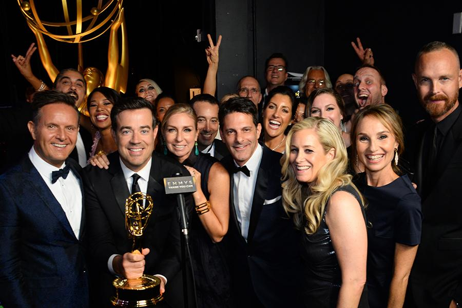 "The team for ""The Voice"" backstage at the 67th Emmy Awards."
