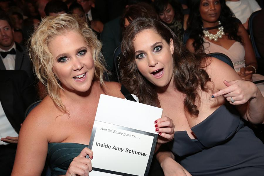 Amy Schumer and Kim Caramele at the 67th Emmy Awards.