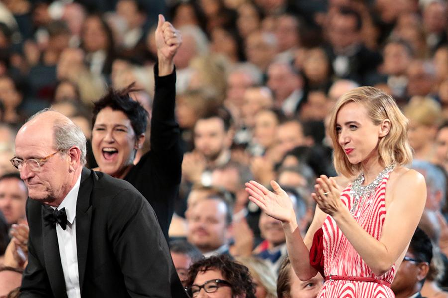 Richard Jenkins and Zoe Kazan at the 67th Emmy Awards.