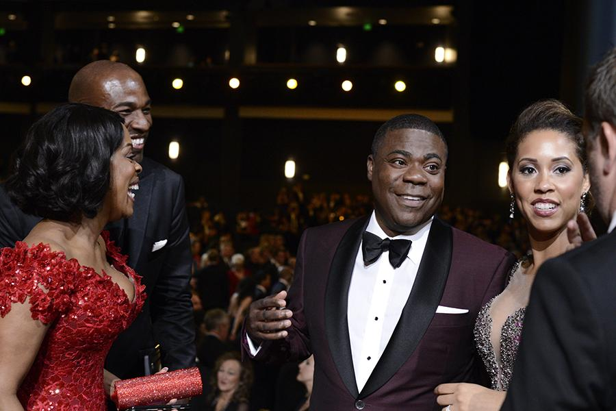 Niecy Nash, Jay Tucker, Tracy Morgan and Megan Wollover backstage at the 67th Emmy Awards.