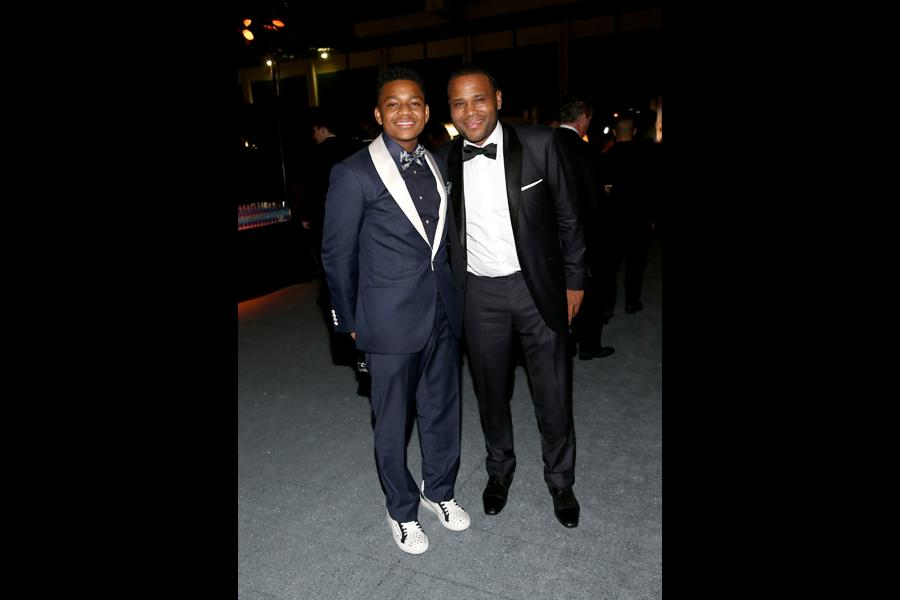 Nathan Anderson and Anthony Anderson at the 67th Emmys Governors Ball.
