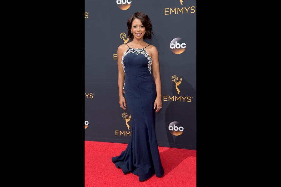 Angel Parker on the red carpet at the 2016 Primetime Emmys.