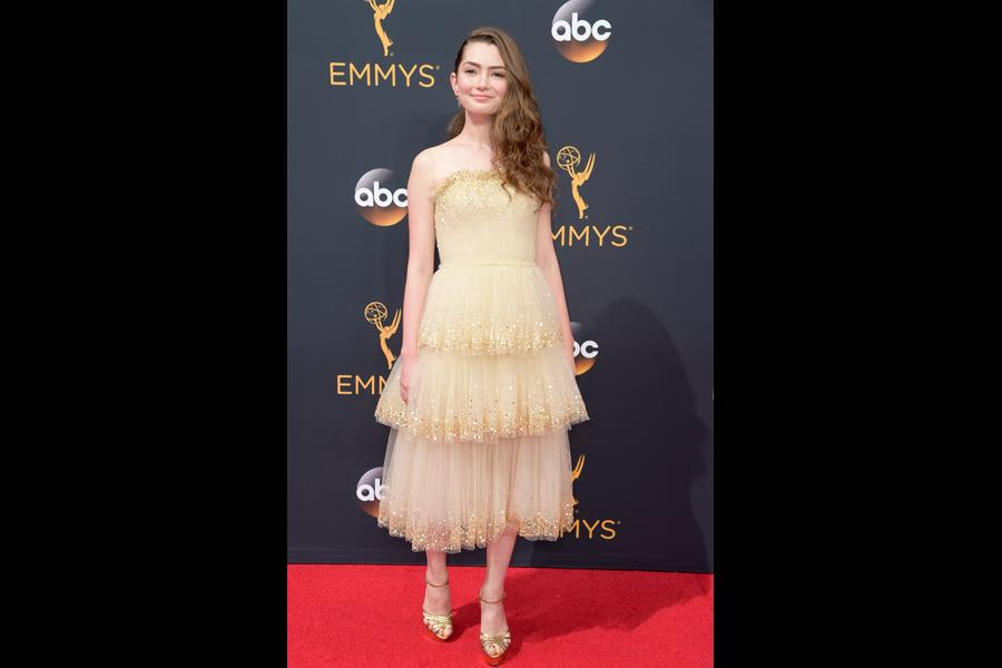 Emily Robinson on the red carpet at the 2016 Primetime Emmys.
