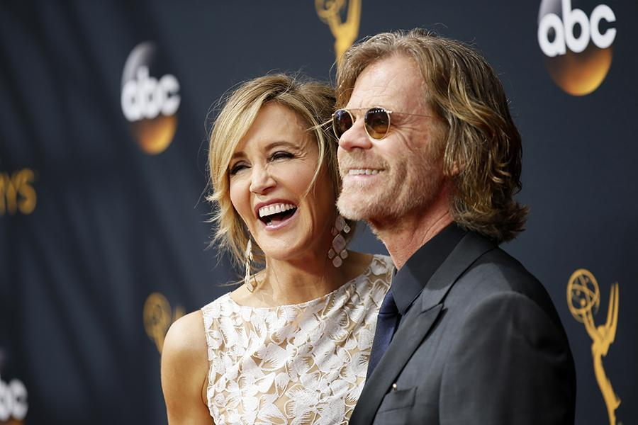 Felicity Huffman and William H. Macy on the red carpet at the 2016 Primetime Emmys.