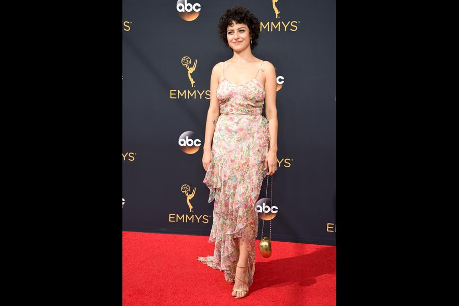 Alia Shawkat on the red carpet at the 2016 Primetime Emmys.