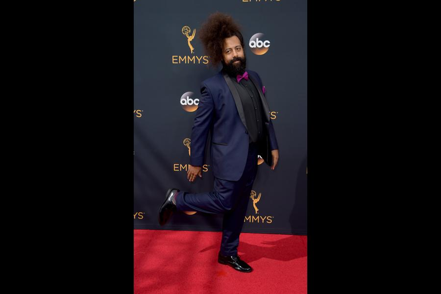 Reggie Watts on the red carpet at the 2016 Primetime Emmys.