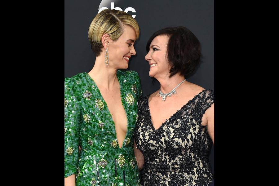 Sarah Paulson and Marcia Clark on the red carpet at the 2016 Primetime Emmys.