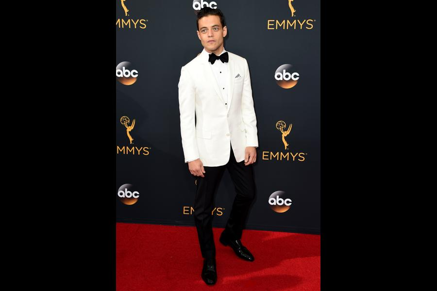 Rami Malek on the red carpet at the 2016 Primetime Emmys.