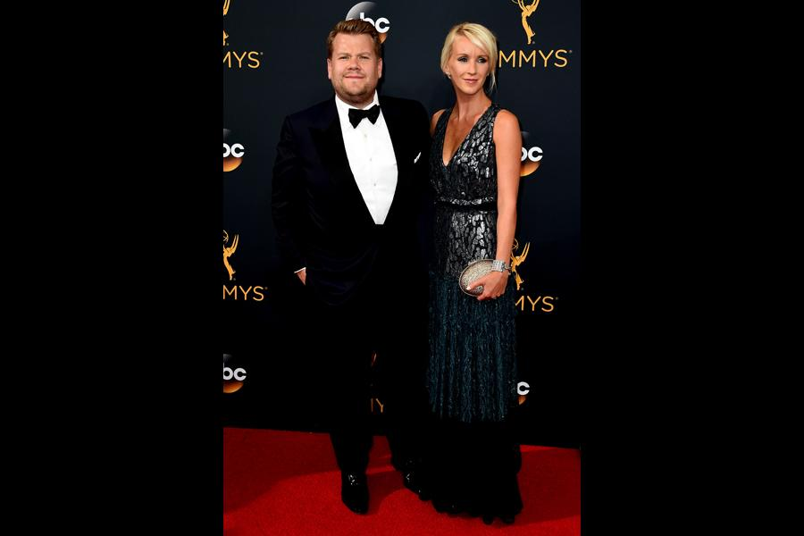 James Corden and Julia Carey on the red carpet at the 2016 Primetime Emmys.