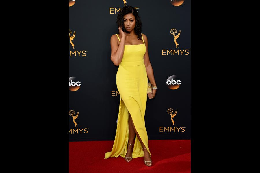 Taraji P. Henson on the red carpet at the 2016 Primetime Emmys.