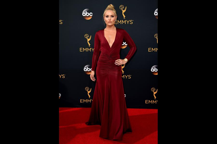 Lindsey Vonn on the red carpet at the 2016 Primetime Emmys.