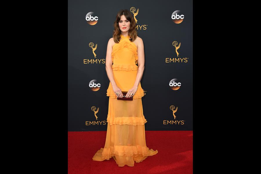 Mandy Moore on the red carpet at the 2016 Primetime Emmys.