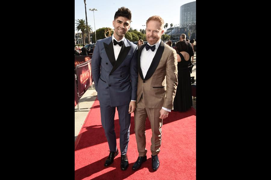 Justin Mikita and Jesse Tyler Ferguson on the red carpet at the 2016 Primetime Emmys.