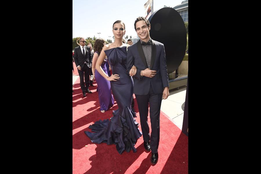 Emily Ratajkowski and Zac Posen on the red carpet at the 2016 Primetime Emmys.